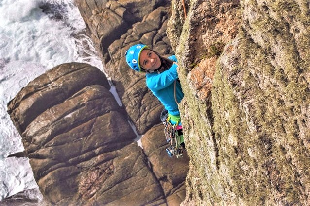 Multi-pitch sea cliff climbing near Land's End in Cornwall. Guided rock climbing in Cornwall with Kernow Coasteering.