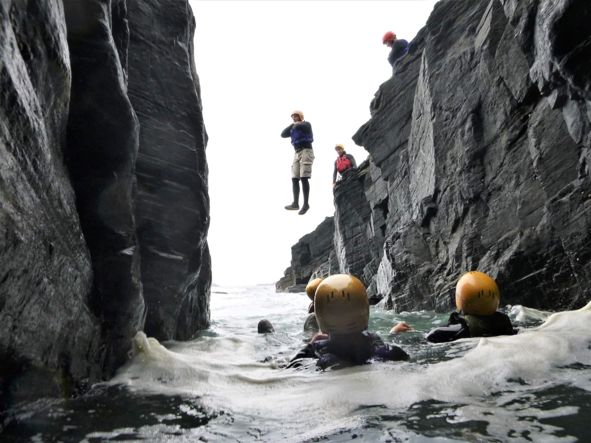 Cliff jump at Pestreath Cove, west of Praa Sands with Kernow Coasteering