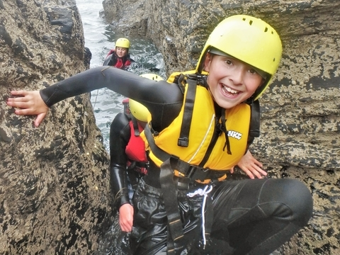 Coasteering for children and families in Cornwall at Praa Sands with Kernow Coasteering