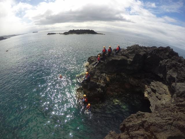 Group coasteering on Sao Miguel, Azores.