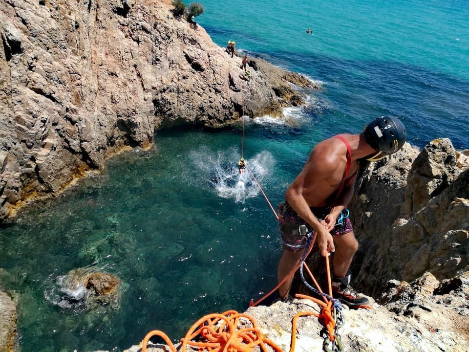 Tyrolean traverse coasteering with Sardinia Wild Canyoning