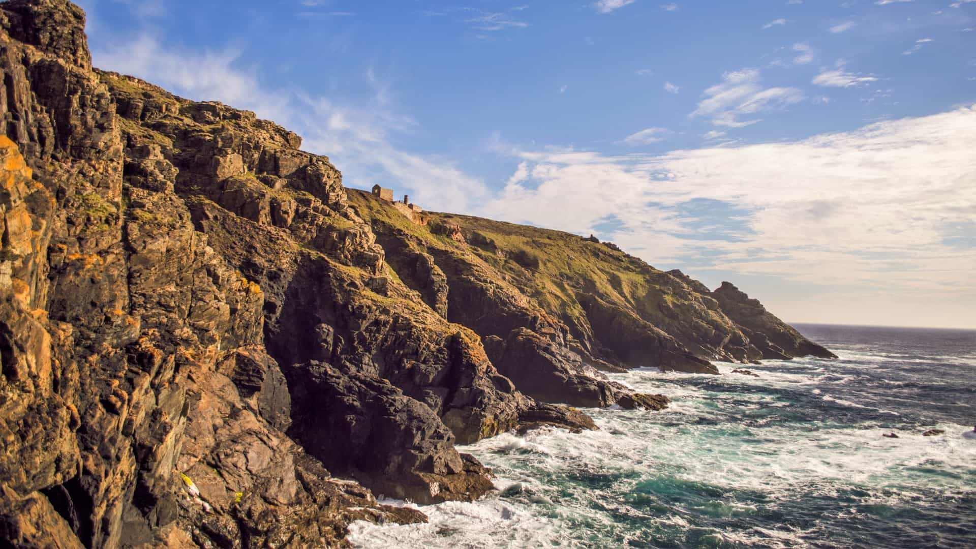 Dark, killas slate cliffs from Cape Cornwall to Pendeen contrast with the golden granite of west Cornwall.
