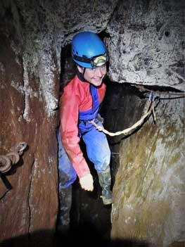 Go Below Cornwall to experience high adventure with Cornwall Underground Adventures. Here a mine explorer is on a section of via