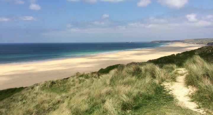 3 miles of golden sand at Gwithian, St. Ives Bat, Cornwall