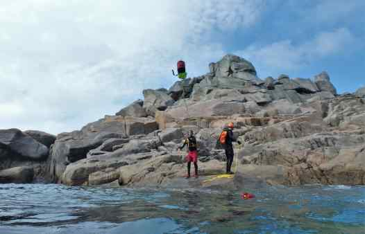Coasteering guides training on the Isles of Scilly