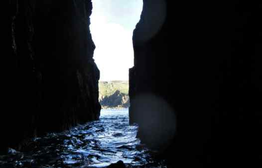 Swimming through a huge sea arch at land's End in Cornwall with Kernow Coasteering